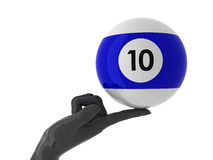 Pool for you. Pool ball on forefinger. Isolated Royalty Free Stock Images
