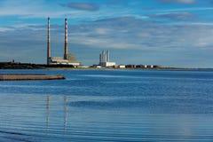 Poolbeg chimneys of the Ringsend area of Dublin, Ireland Stock Photo