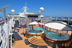 Pooldeck onboard Liberty of the Seas, Royal Caribbean. Cruises royalty free stock images