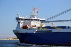 Poole, Dorset, England - 2. Juni 2018: Containerschiff Mangan-Pelikan stockfotografie