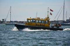 Poole Harbour Pilot boat. Poole Harbour, Dorset, United Kingdom. 23 June 2018. Poole Harbour Pilot boat returning to Poole Harbour having delivered the pilot to Stock Images