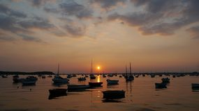 Poole harbour from Sandbanks at sunset. Royalty Free Stock Image