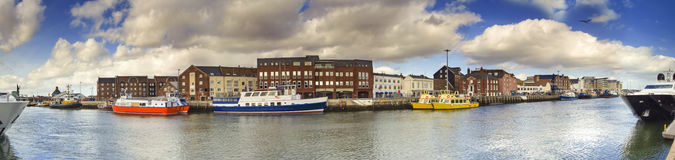 Poole Quay panoramic with harbour boats Royalty Free Stock Photos
