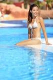 Poolfrau stockfotos
