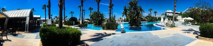 Poolhotel en palmen stock fotografie