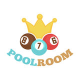 Poolroom colorful logo label with balls and yellow crown Stock Image
