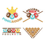 Poolroom emblem set Royalty Free Stock Photos