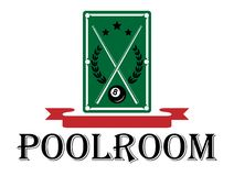 Poolroom i billiards emblemat Fotografia Stock