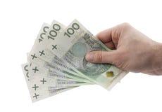 Pools geld dat ter beschikking op wit wordt geïsoleerdn Stock Fotografie