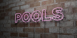 POOLS - Glowing Neon Sign on stonework wall - 3D rendered royalty free stock illustration Stock Images