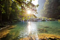Pools in Guatemala. Beautiful natural pools in Semuc Champey, Lanquin, Guatemala, Central America Stock Images