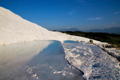 Pools of Pamukkale during evening Stock Images