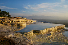 The pools of Pamukkale during evening Royalty Free Stock Photo