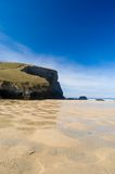 Pools on the sand. Mawgan porth Stock Image