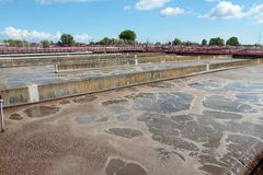 Pools with sewage in treatment plant Stock Photography
