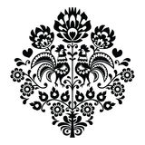 Pools volkskunst zwart patroon op wit - Wycinanka, Wzory Lowickie Royalty-vrije Stock Foto's