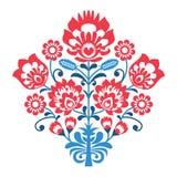 Pools Volkskunstpatroon met bloemen - wzory lowickie, wycinanka Royalty-vrije Stock Afbeeldingen