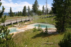 Pools at Yellowstone. Deep hot springs mineral pools at Yellowstone National Park, Montana Stock Images