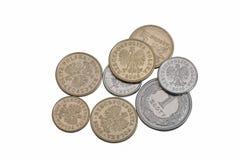 Pools zloty die muntstukkengeld op wit, close-up wordt geïsoleerd Stock Foto