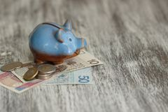 Pools zloty en spaarvarken op de houten achtergrond Stock Fotografie