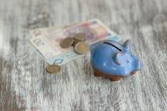 Pools zloty en spaarvarken op de houten achtergrond Stock Foto's