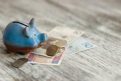 Pools zloty en spaarvarken op de houten achtergrond Stock Afbeelding