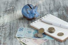Pools zloty, notitieboekje en spaarvarken op de houten achtergrond Royalty-vrije Stock Afbeeldingen