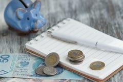 Pools zloty, notitieboekje en spaarvarken op de houten achtergrond Royalty-vrije Stock Afbeelding