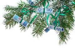 Poolse bankbiljetten op Kerstmisboom royalty-vrije stock foto
