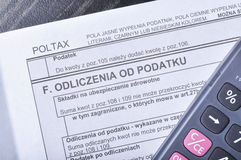 Poolse belastingsvorm Stock Foto
