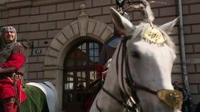 Poolse cavalerie tijdens jaarlijks van Poolse nationaal en officiële feestdag de 3 de Grondwetsdag van Mei stock footage