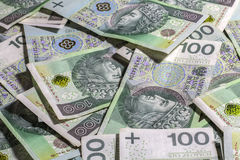 Poolse geldachtergrond Royalty-vrije Stock Foto's