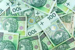 Poolse groene geldachtergrond Royalty-vrije Stock Afbeeldingen