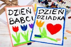 Poolse Grootvader` s Dag en van de Grootmoeder` Dag kaart stock illustratie