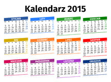 Poolse kalender 2015 Royalty-vrije Stock Foto