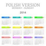 2014 Poolse kalender met kleurpotloden royalty-vrije illustratie