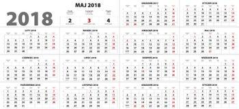 Poolse Kalender voor 2018 Royalty-vrije Stock Afbeelding