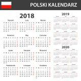 Poolse Kalender voor 2018, 2019 en 2020 Planner, agenda of agendamalplaatje Het begin van de week op Maandag Royalty-vrije Stock Fotografie