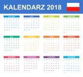 Poolse Kalender voor 2018 Planner, agenda of agendamalplaatje Het begin van de week op Maandag Royalty-vrije Stock Afbeeldingen