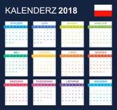 Poolse Kalender voor 2018 Planner, agenda of agendamalplaatje Het begin van de week op Maandag Stock Fotografie
