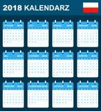 Poolse Kalender voor 2018 Planner, agenda of agendamalplaatje Het begin van de week op Maandag Stock Afbeeldingen