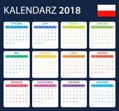 Poolse Kalender voor 2018 Planner, agenda of agendamalplaatje Het begin van de week op Maandag Stock Foto's