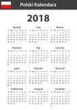 Poolse Kalender voor 2018 Planner, agenda of agendamalplaatje Het begin van de week op Maandag Royalty-vrije Stock Afbeelding