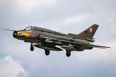 Poolse Luchtmacht Sily Powietrzne Sukhoi su-22 Geschiktere aanvalsvliegtuigen Royalty-vrije Stock Foto