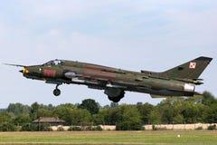 Poolse Luchtmacht Sily Powietrzne Sukhoi su-22 Geschiktere aanvalsvliegtuigen Stock Afbeelding