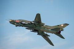 Poolse Luchtmacht SU 22 Geschiktere vliegtuigen Royalty-vrije Stock Foto's