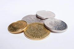 Poolse muntstukken van verschillende benamingen Stock Afbeeldingen