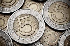 Poolse muntstukkentextuur Stock Afbeeldingen