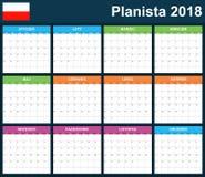 Poolse Ontwerpersspatie voor 2018 Planner, agenda of agendamalplaatje Royalty-vrije Stock Foto's