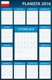 Poolse Ontwerpersspatie voor 2018 Planner, agenda of agendamalplaatje Het begin van de week op Maandag Stock Afbeeldingen